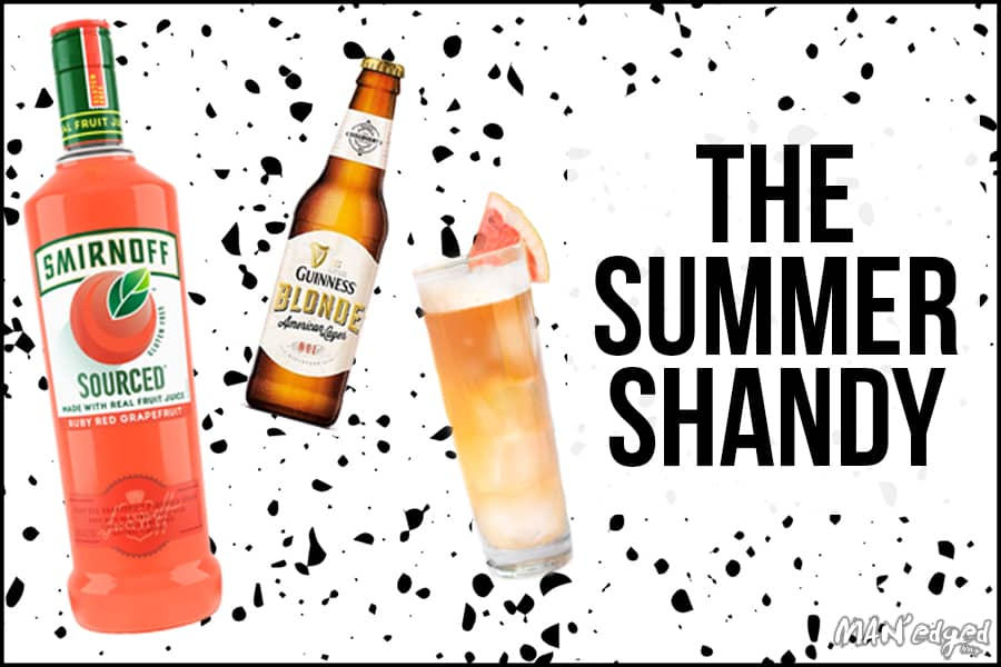 Summer Shandy Cocktail in the MAN'edged Magazine Pitcher Perfect end of summer drink series. Smirnoff Sourced Grapefruit vodka left, Guinness Blonde Lager beer middle