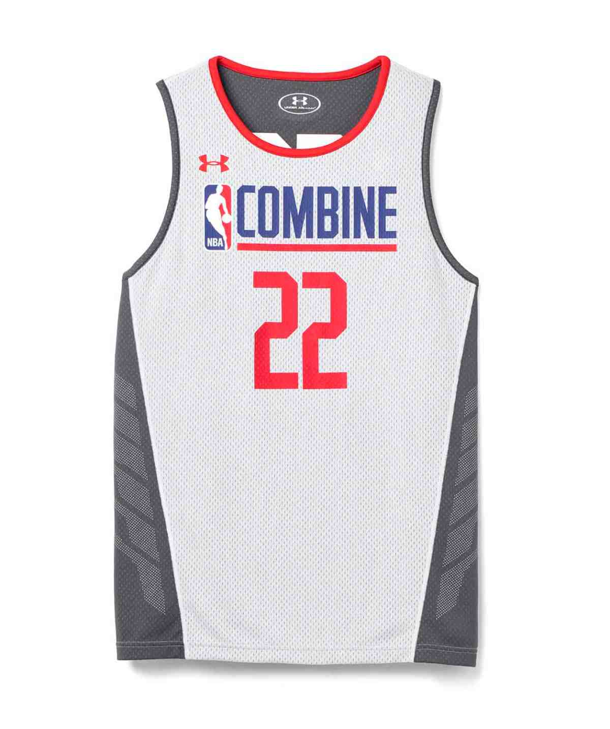 White mens NBA Combine draft jersey by Under Armour