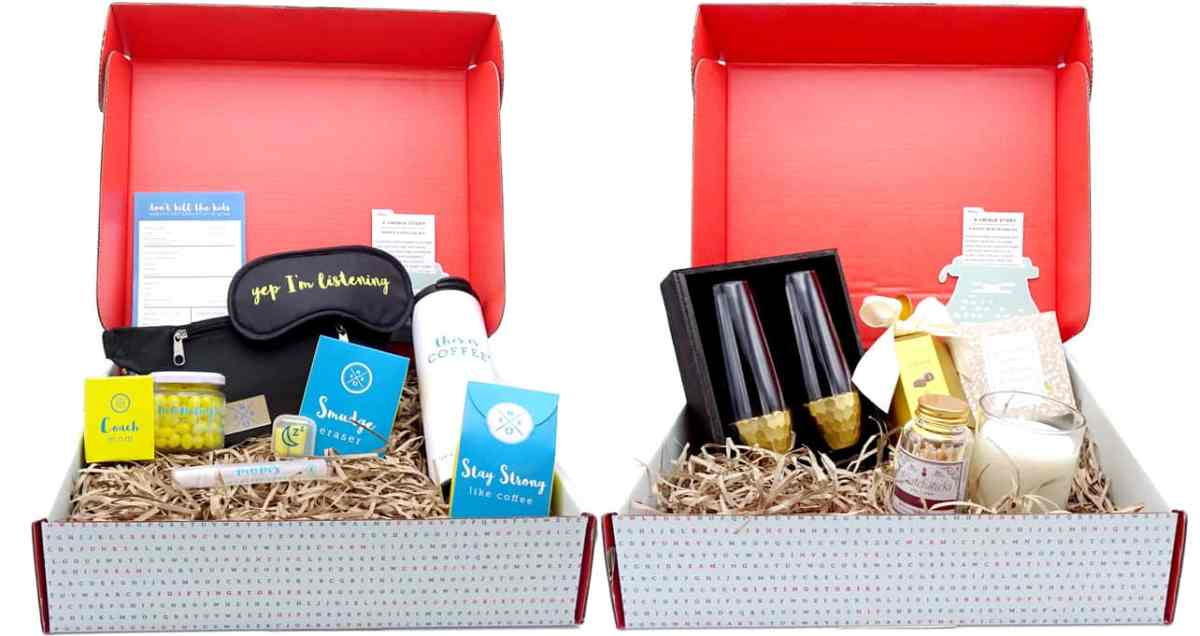 Mother's Day thoughfully gift boxes, left eye mask, right champagne glasses