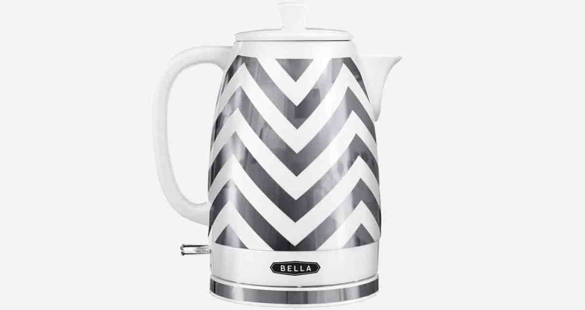 Chevron print ceramic tea kettle