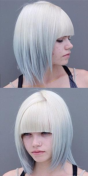 modern hairstyle idea - chic bob with silver ombre color