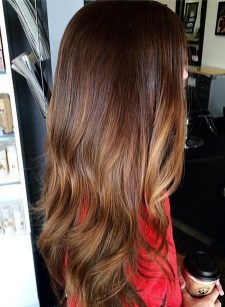 rich brunette hair color with a hint of highlights
