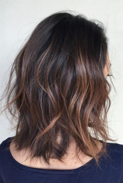 textured lob with loose curls