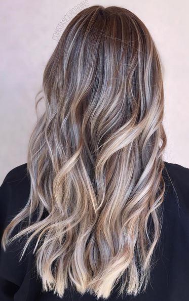 brunette highlights with subtle ash tones