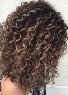 balayage on curly hair