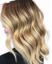 golden blonde and caramel highlights