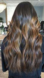 warm balayage brunette highlights