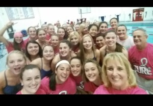 Foran Swimmers and Coaches support Breast Cancer this month and wear pink at their meet last night