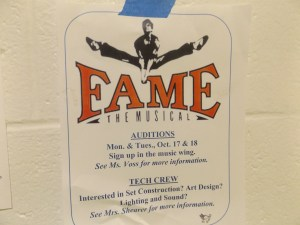 """Fame"" auditions are coming up soon. You don't have to act to be a part of the production! Photo courtesy Kyle Cohen taken October 4, 2016."