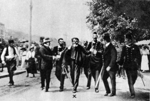 Arrest of Gavrilo Princip, assassin of Archduke Franz Ferdinand, 1914.