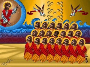 A new coptic icon of the 21 Egyptian martyrs of Libya