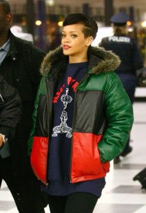 Rihanna | Supreme Leather Down Jacket | Green/Black/Red