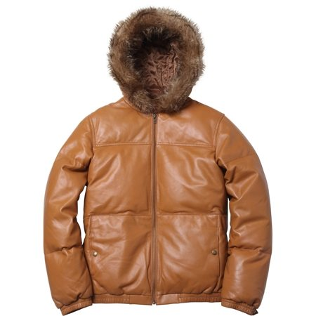 Supreme | Leather Down Jacket | Beige