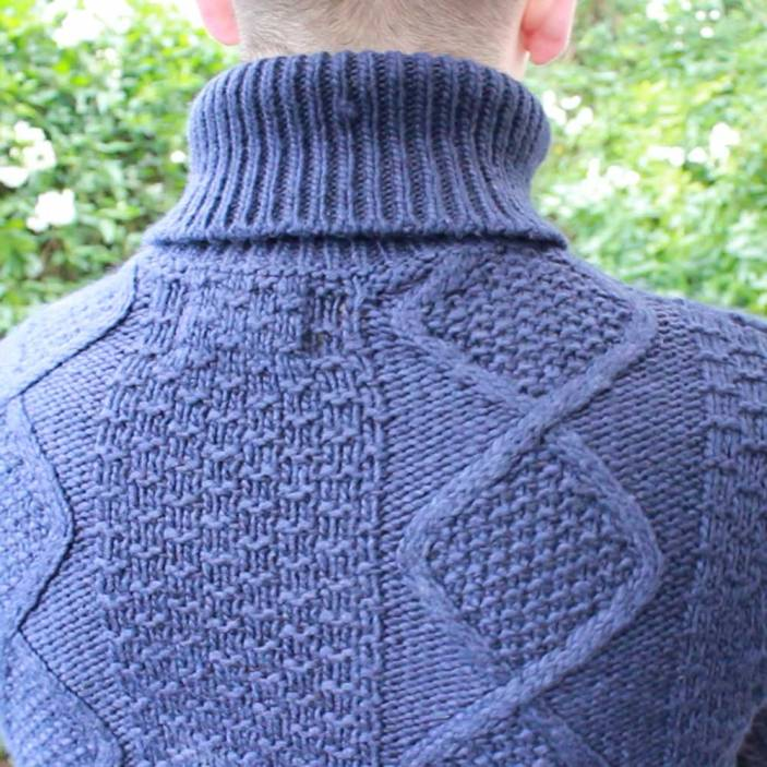 Topman-Navy-Cable-Knit-Roll-Neck-Back