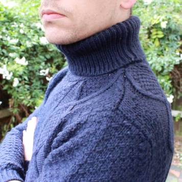 Topman-Navy-Cable-Knit-Roll-Neck-Side