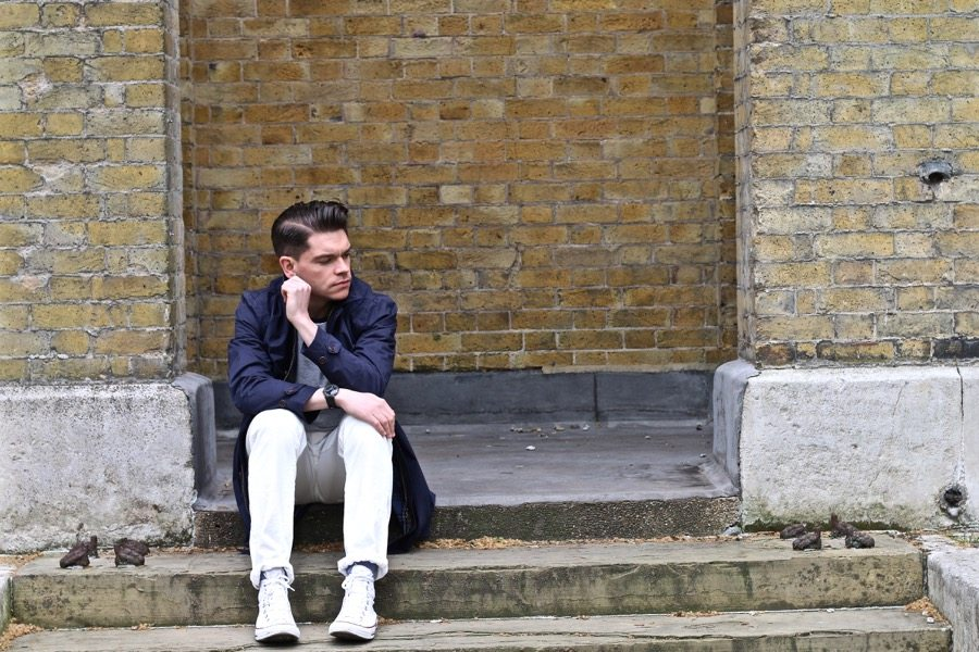 Robin-James-Slick-Back-Joules-Rain-Mac-White-Jeans