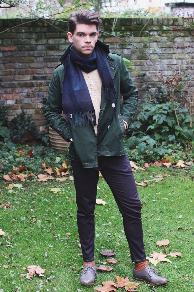 Green-trench-coat-pebble-grandad-shirt-Robin-James-Man-For-Himself