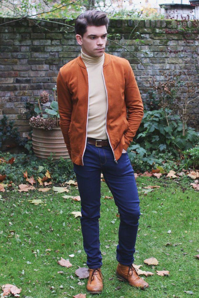 green-bomber-jacket-roll-neck-jeans-Robin-James-Man-For-Himself