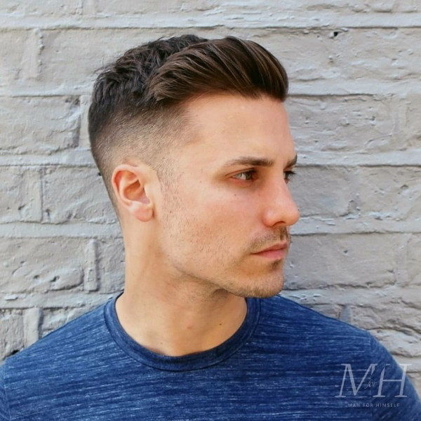 Skin Fade With Textured Sweep Over