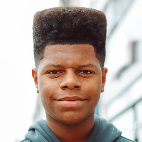 Afro Box Cut Flat Top Fade