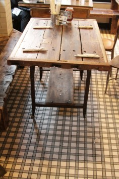 Restaurant table, recycled wood.