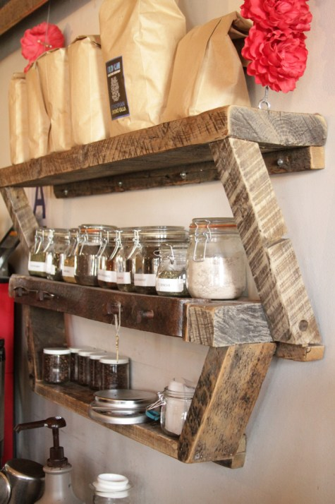 Small, angled cafe shelving unit