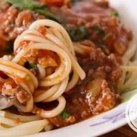 Macarrão com Carne Moída e Molho de Tomate