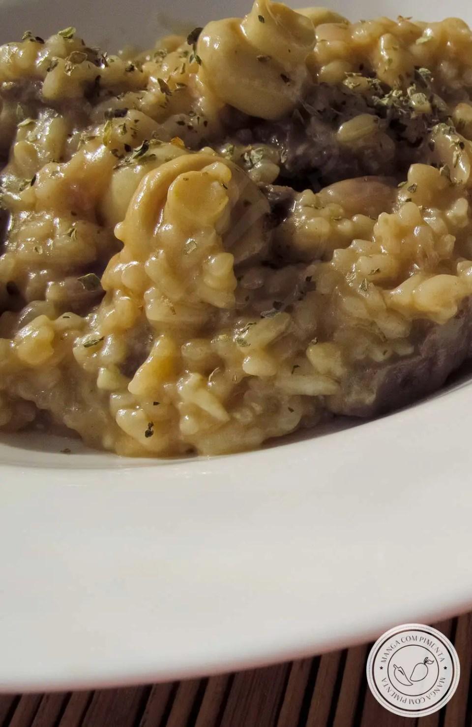 Risoto de Carne e Champignon - comida que conforta a alma e esquenta o corpo!