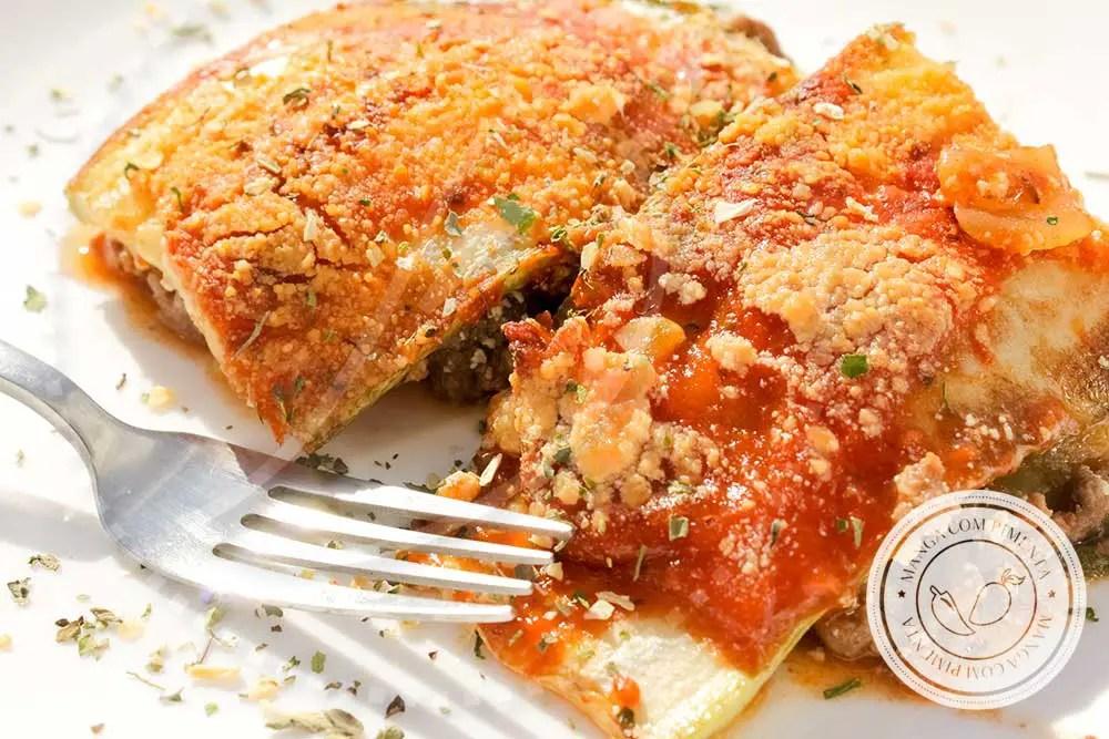 Receita de Lasanha de Abobrinha com Carne, Queijo e Molho Tomate - Comidinha do Bem para o final de semana com a família!