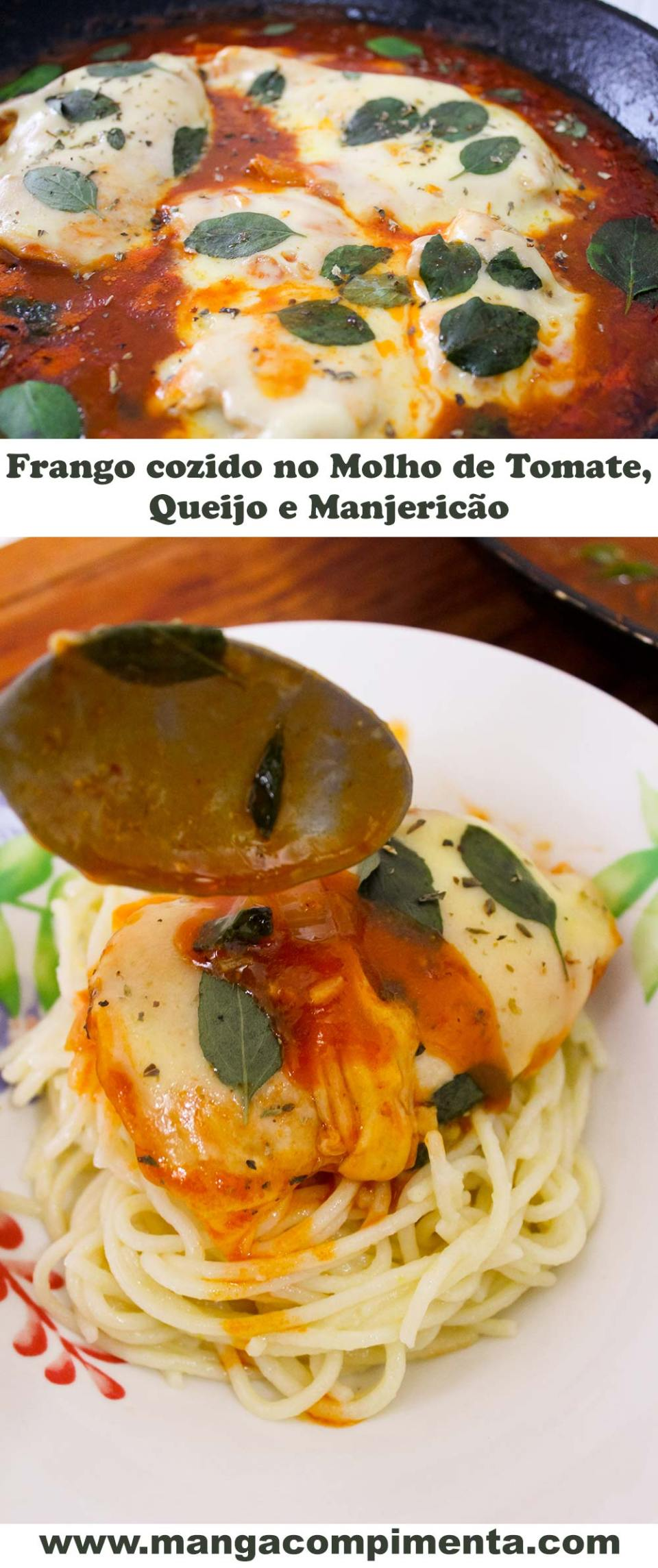 Frango cozido no Molho de Tomate, Queijo e Manjericão - para o almoço de domingo!