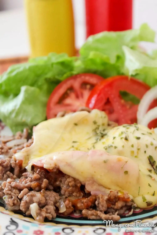 Carne Moída à Parmegiana com Presunto e Queijo - para um almoço diferente na semana!