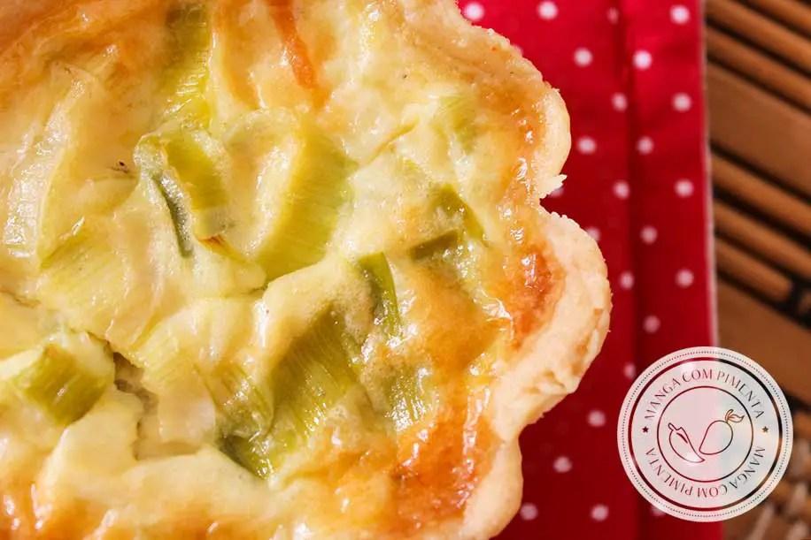 Receita de Mini Quiche de Alho-poró | Finger Food - uma deliciosa tortinha salgada para servir em dias de festa.