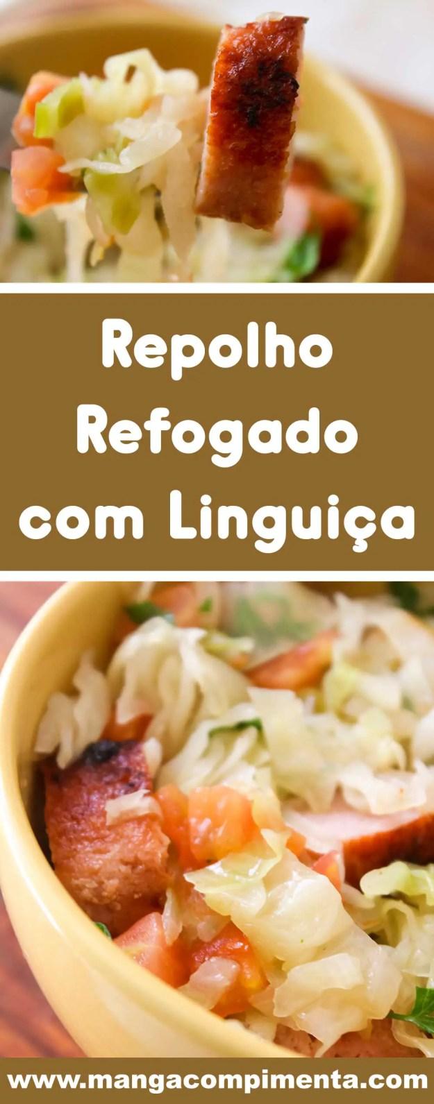 Receita de Repolho com Linguiça de Churrasco - prato delicioso para o almoço ou jantar!