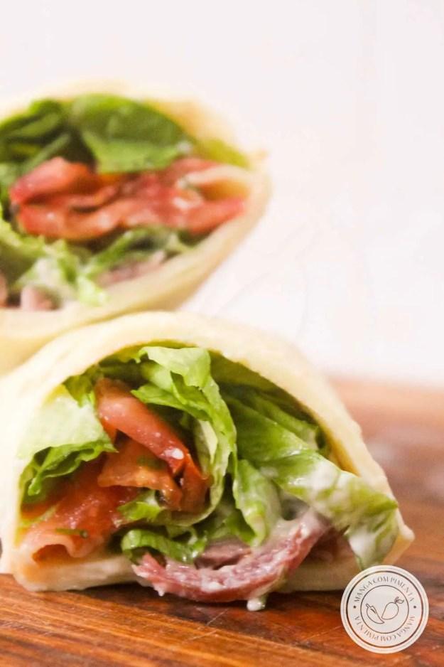 Receita de Panqueca Fria de Salame com Salada - lanche delicioso em dias quentes de verão.