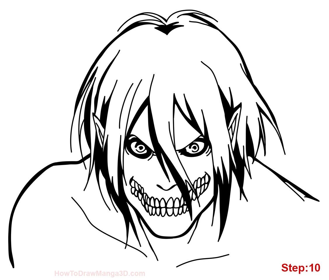 How To Draw Eren In Titan Form