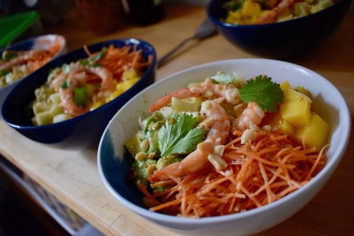 poke bowl crevettes pommes vertes