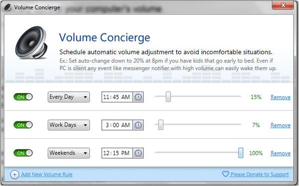 Volume Concierge – Tự động tăng giảm âm thanh theo lịch