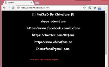 Trang web thực thuộc UBND tỉnh Bình Định bị hacker Trung Quốc tấn công