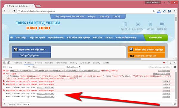 Trang web Trung tâm dịch vụ việc làm Bình Định chèn quảng cáo không phù hợp