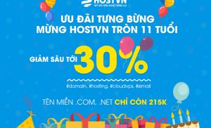 Mừng sinh nhật Hostvn giảm giá 30% các dịch vụ trong tháng 5/2018