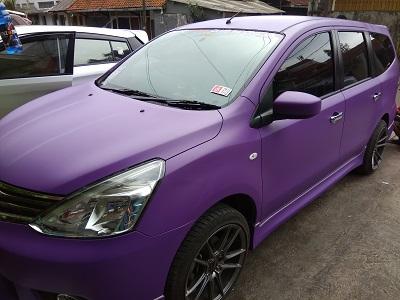 full wrapping ungu violet doff di bandung | livina | mangele stiker | 081227722792