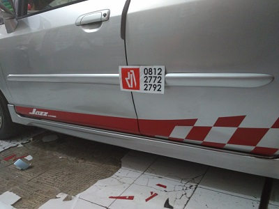 cutting stiker mobil | jazz striping rally | mangele stiker 081227722792