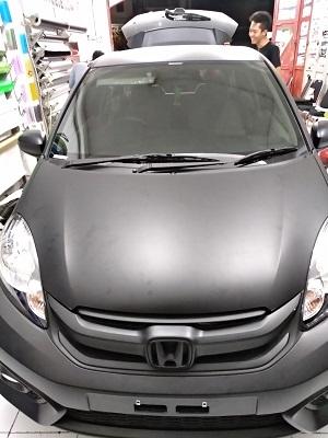 wrapping stiker mobil | Kap Mesin hitam doff Bandung | mangele stiker 081227722792