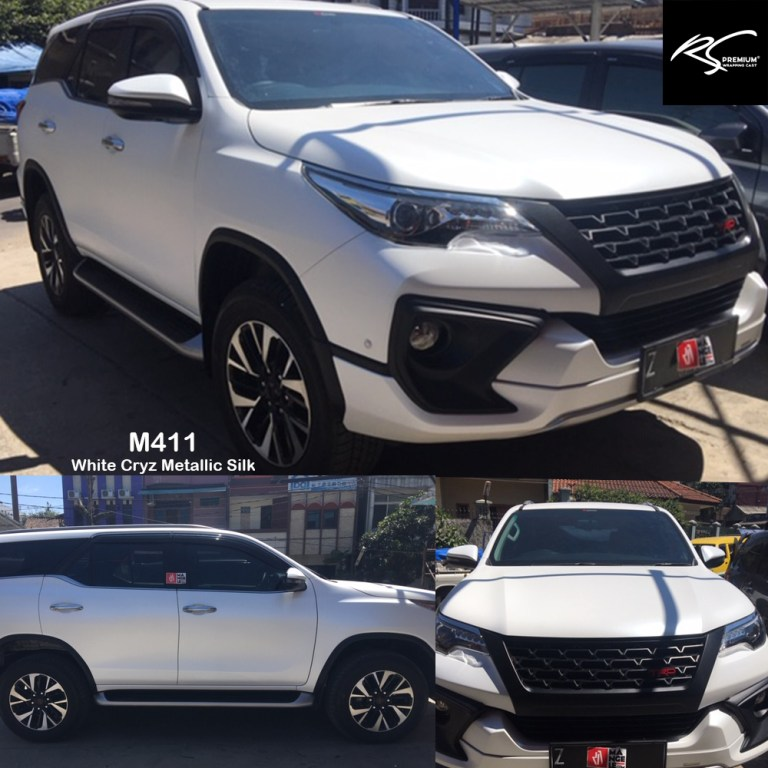 stiker mobil bandung | fortuner full wrapping putih doff metallik white cryz metallic silk