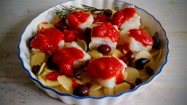 Baked cod preparation