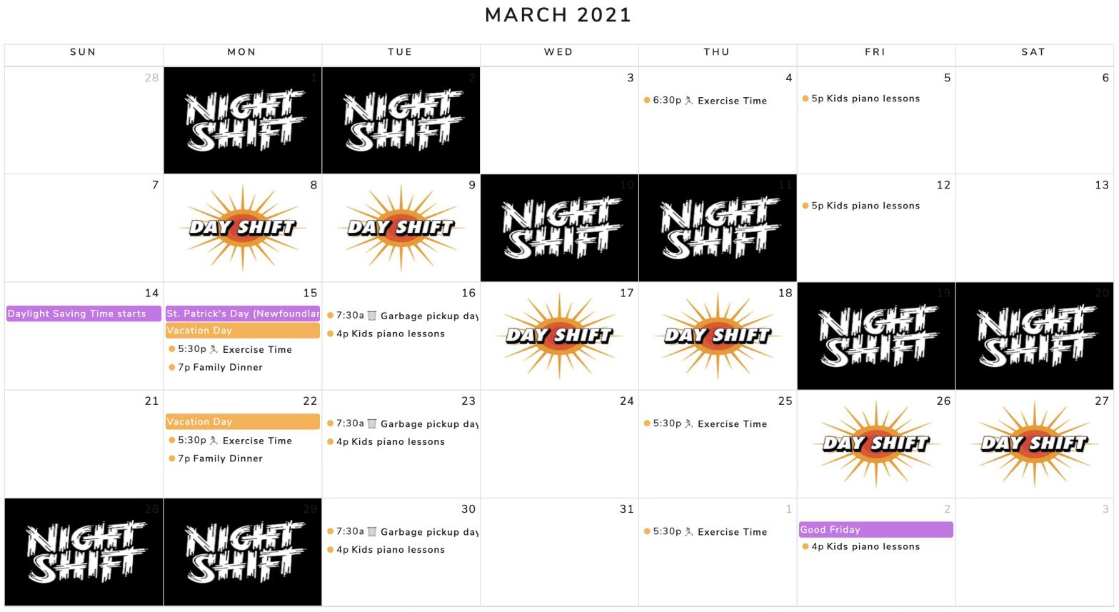 month shifitng plan