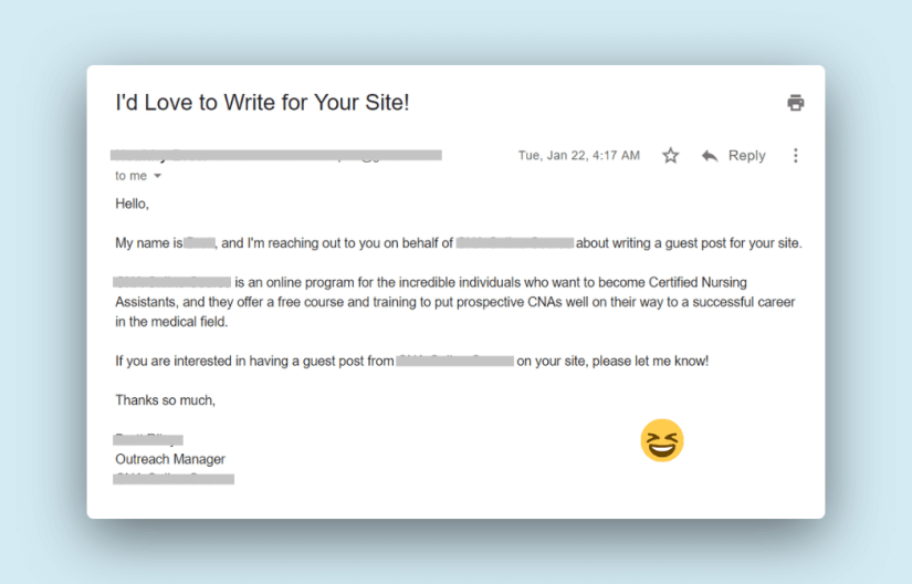 off-topic outreach email