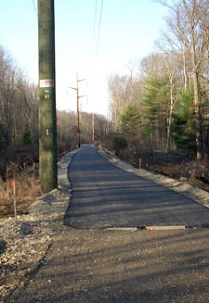 One of the newly paved sections of the Easthampton-Northampton connector in a photo taken in late November 2009 (courtesy Peter Brooks)