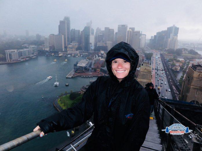 Sydney's harbor bridge climb is less fun in the monsooning rain.