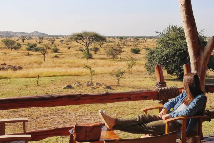 The view from the lobby at Grumeti Migration Camp is a perfect place to watch for wildebeest and pumbas!